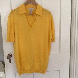 Ermenegildo Zegna short sleeve yellow polo shirt